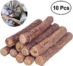Stick da masticare per gatti, Umiwe 10 Bastoncini in Legno di Erba Gatta Matatabi di Makone Per Gatti In legno di Matatabi per la cura dentale aiutano giocando ad eliminare alitosi e tartaro (10 Bastoncini)