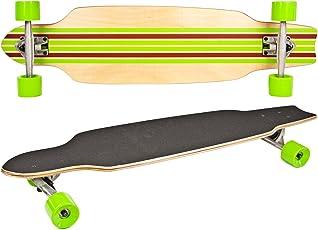 Nick and Ben Long-Board Skate-Board Holz 92cm 36 inch Komplett-Board 5 Schichten Ahorn-Holz Rot Grün High Speed Kugellager weiche Rollen Skater Cruiser