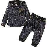 puseky Conjunto de sudadera con capucha para bebés bebés y niños pequeños sudadera con capucha de camuflaje pantalones de inv