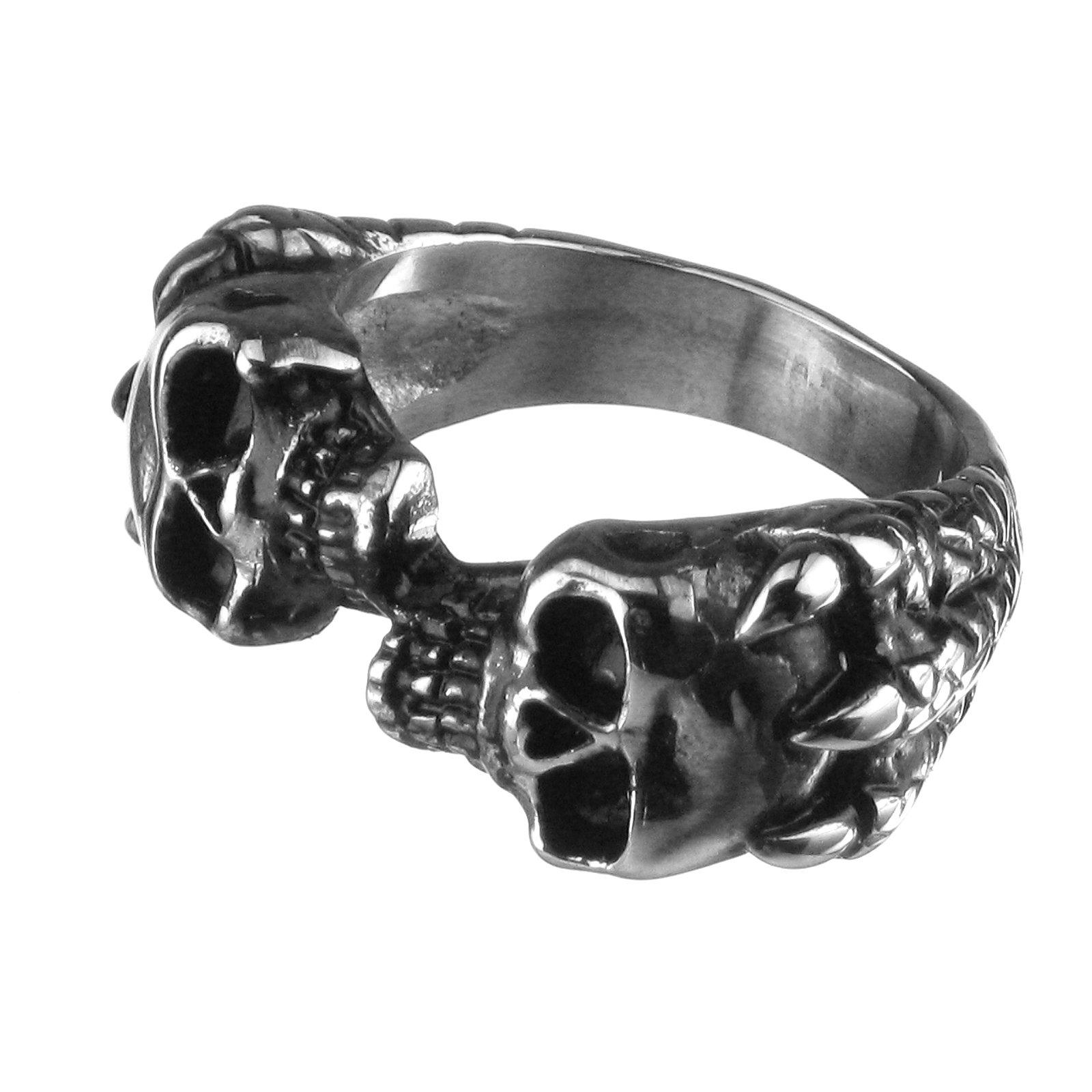Anello Teschio con gli artigli, Cranio, Dragartigli, gotico, 18 millimetri