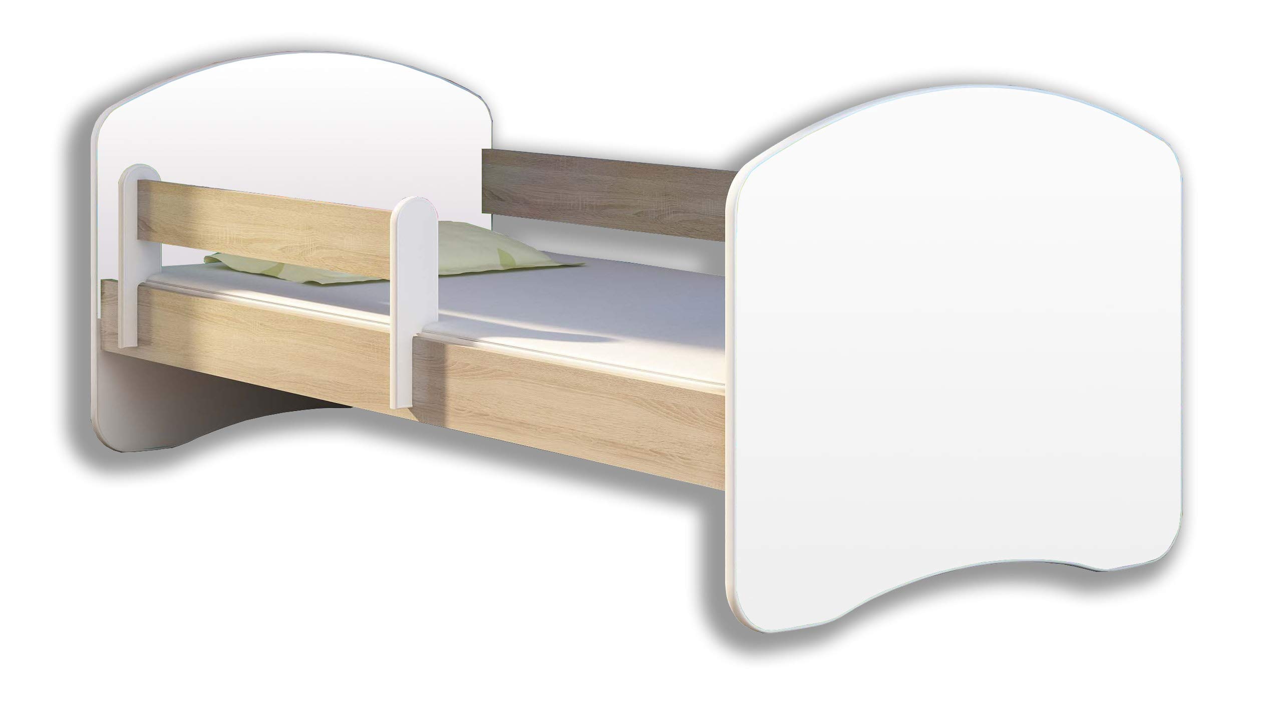 TODDLER CHILDREN KIDS BED + FREE MATTRESS DRAWER ACMA II WHITE (Sonoma Wood, 140x70 cm) ACMA Dimensions : 144 cm x 75 cm x 62 cm For safety all the edges of the bed are covered with a special PCV material The bed is proper for kids up to 100 kg 1