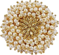 Muchmore 22K Gold Plated Beautiful Pearl Beads Made Adjustable Polki Ring for Women