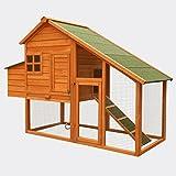 WilTec Poulailler avec espaces extérieurs et nichoir, en Bois de Sapin 1710x660x1200mm, Grill galvanisé