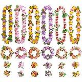 GWHOLE Juego de Guirnaldas Flores Hawaianas Decoración de Colores, 12 Collares 12 Diademas 24 Pulseras Lei Hawaiano de Flores
