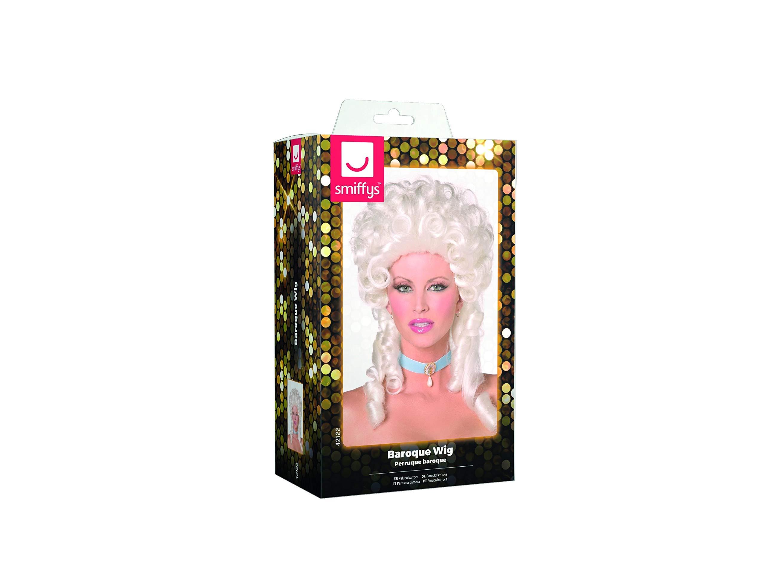SMIFFYS Smiffy's-Parrucca barocca, bianca, lunghezza spalle con boccoli Donna, Taglia unica, 42122 3 spesavip