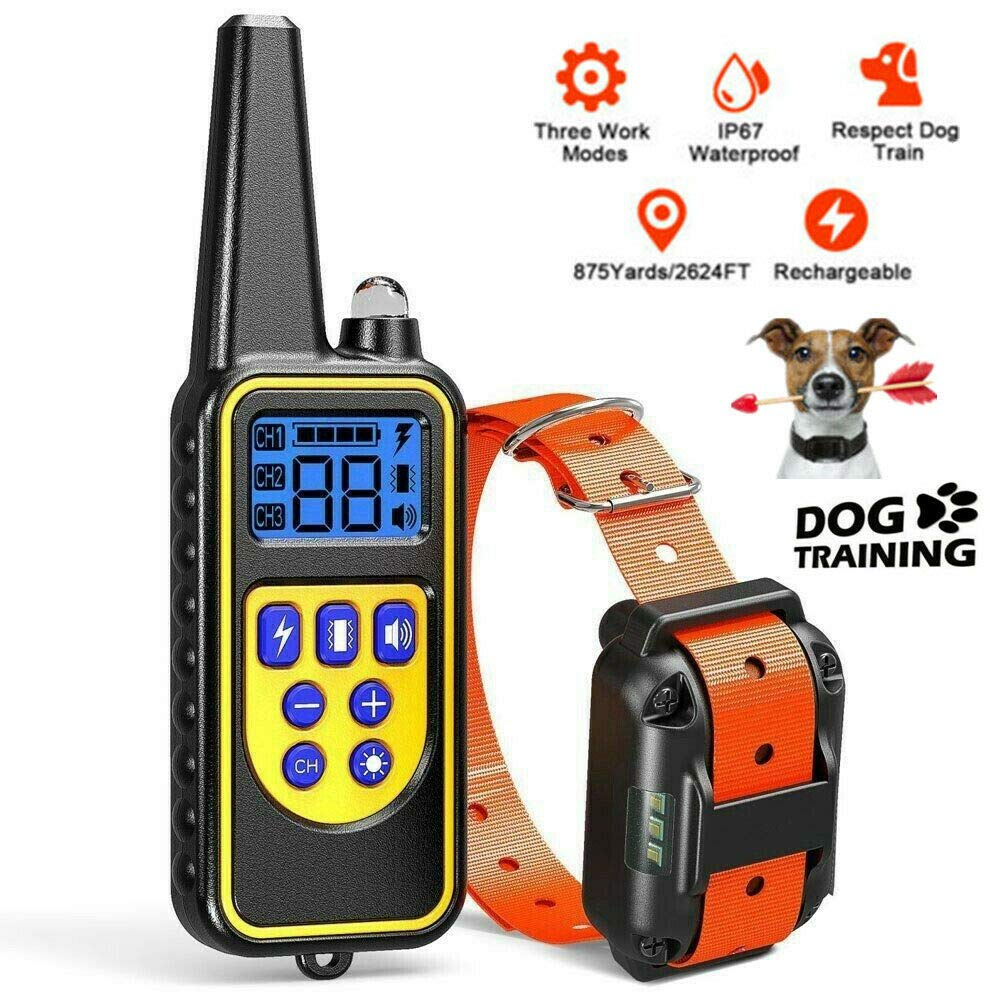 FunniPets Dog Training Collar with Remote, Waterproof Dog Shock Collar 2600ft Control Range Rechargeable Shock Collar for Medium and Large Dogs with 4 Training Modes Light Static Shock Vibration Beep