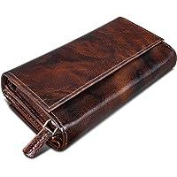 ROYALZ Vintage Leder Geldbörse für Damen Portemonnaie groß mit vielen Fächern RFID-Blocker Brieftasche Querformat, Farbe…