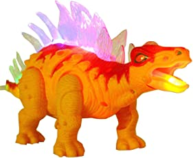FunBlast Walking /Moving Dinosaur Toy with Flashing Lights and Realistic Dinosaur Sounds Children's Kids Toy - Battery Operated (Yellow)