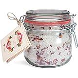 Deluxe natuurlijk badzout rozen bloemenzee, fijnste mineraal steenzout voor zijdezachte huid (700g)