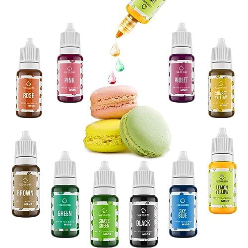 Colorante Alimentare liquido 10 colori di Set, Coloranti Alimentari set per torte liquidi concentrati di colore per la cottura, la decorazione, la glassa e la cottura, 10X10 ml