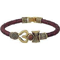 SuperSave Trishul Damru OM Rudraksha Gold Plated Leather Mahadev Mahakal Shiva Bhakt Bahubali Navaratri Special Kada…