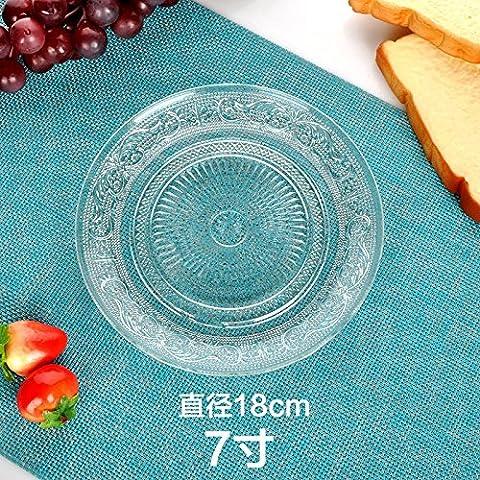 Grande assiette en verre transparent Assiettes à fruits Assiette à gâteau