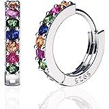 Sweetv, orecchini a cerchio in argento Sterling 925 per donne e ragazze, piccoli e grandi, 3 misure