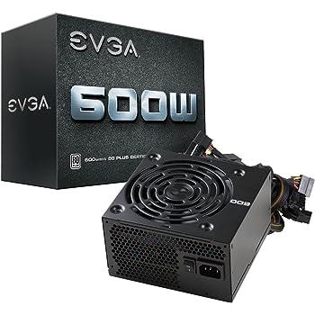 EVGA 600 W1, 80+ WHITE 600W, 3 anni Garanzia, Alimentazione PC 100-W1-0600-K2