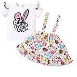 WangsCanis Conjunto de 2 piezas para niña de manga larga con volantes + falda con tirantes estampados de corazones, 0 – 5 año