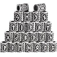 Nonebranded 24 Pezzi Perline di Rune, Perline per Capelli e Barba, Perline per Barba Vichinghe, con 100 Elastici, Adatti…