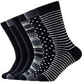 Men's Colorful Dress Socks, Comfortable Cotton Striped Patterned Socks, Solid Lightweight Casual Calf Socks for Men Women 6 P