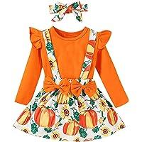 Upxiang Completo Bambino Halloween 3Pz Costume Halloween Bambino Vestito per 1-4 Anni Stampa Zucca Maglietta Maniche…