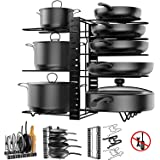 Pot Rack Organizer, 8 Tiers Adjustable Pots and Pans Organizer, Large Capacity Pot Lid Holders & Pan Rack for Kitchen Cabinet