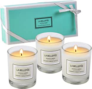 LA BELLEFÉE Gift Votive Scented Set Soy Wax Candle of Pear & Freesia, Blood Orange, Bluebell, Prefect for Birthday Bath Yoga Christmas Mother's Father's Valentine's Day Anniversary 3 Packs