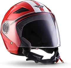 MOTO U52 Racing Red · Scooter-Helm Roller-Helm Vintage Biker Vespa-Helm Helmet Retro Jet-Helm Cruiser Pilot Motorrad-Helm Chopper Bobber Mofa · ECE zertifiziert · mit Visier · inkl. Stofftragetasche · Rot · S (55-56cm)