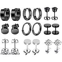 JZZJ 9 paia orecchini in acciaio inossidabile piccoli orecchini a cerchio zircone classico gioielli piercing all'orecch…