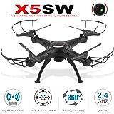 Binghotfire Helikopter Drone X5SW1 GPS FPV RC Drohne mit HD Kamera live ubertragung 2.4Ghz 4CH, lange Flugzeit, 0.3MP rc Quadrocopter ferngesteuert mit 360°Aufnahmewinkel, verstellbare wifi Kamera live übertragung, automatische höhenhaltung, coming home Funktion, automatische verfolgung, One Key Start/Landung, Kopflos Modus, präzise Lokalisierung, beste für Anfänger