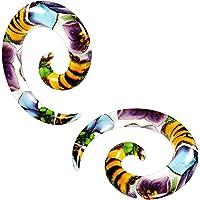 2 pz acrilico carneficato fiore spirale cono dilatatore dilatatore orecchino piercing gioielli a scelta misure