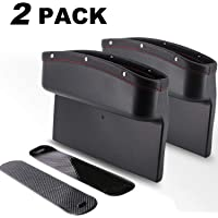 DEFENNA Car Gap Filler, 2 Pack Leather Seat Gap Pockets for Car Console Organizer Seat Side Storage Box Holding Phone Sunglasses Keys, Black (2 Pack) (2)
