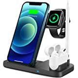 TEMINICE 4 in 1 Wireless Charger for Apple Watch & AirPods & Pencil Charging Dock Station, Nightstand Mode for iWatch Series