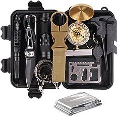 TRSCIND Kit di Sopravvivenza Multiuso,13 in 1 Survival kit,Usato per Esterna First Aid Kit Per Gli Sport all'aria Aperta, Campeggio, Alpinismo, ecc