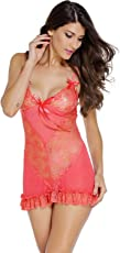 Honeymoon Lingerie for Women/Ladies and Girls Nightwear Premium Babydoll Dress Sleepwear in Red Color in Fancy Gift Packing