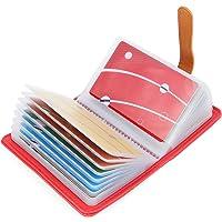 10 Colori Porta Carte di Credito Pelle per Donna Uomo - 26 Slot (Anguria Rosso)