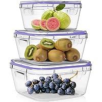 Home Fleek - Boite Alimentaire en Verre | 3 Récipients + 3 Couvercles | Hermétique | sans BPA (Lot de 3, Bleu Carré)