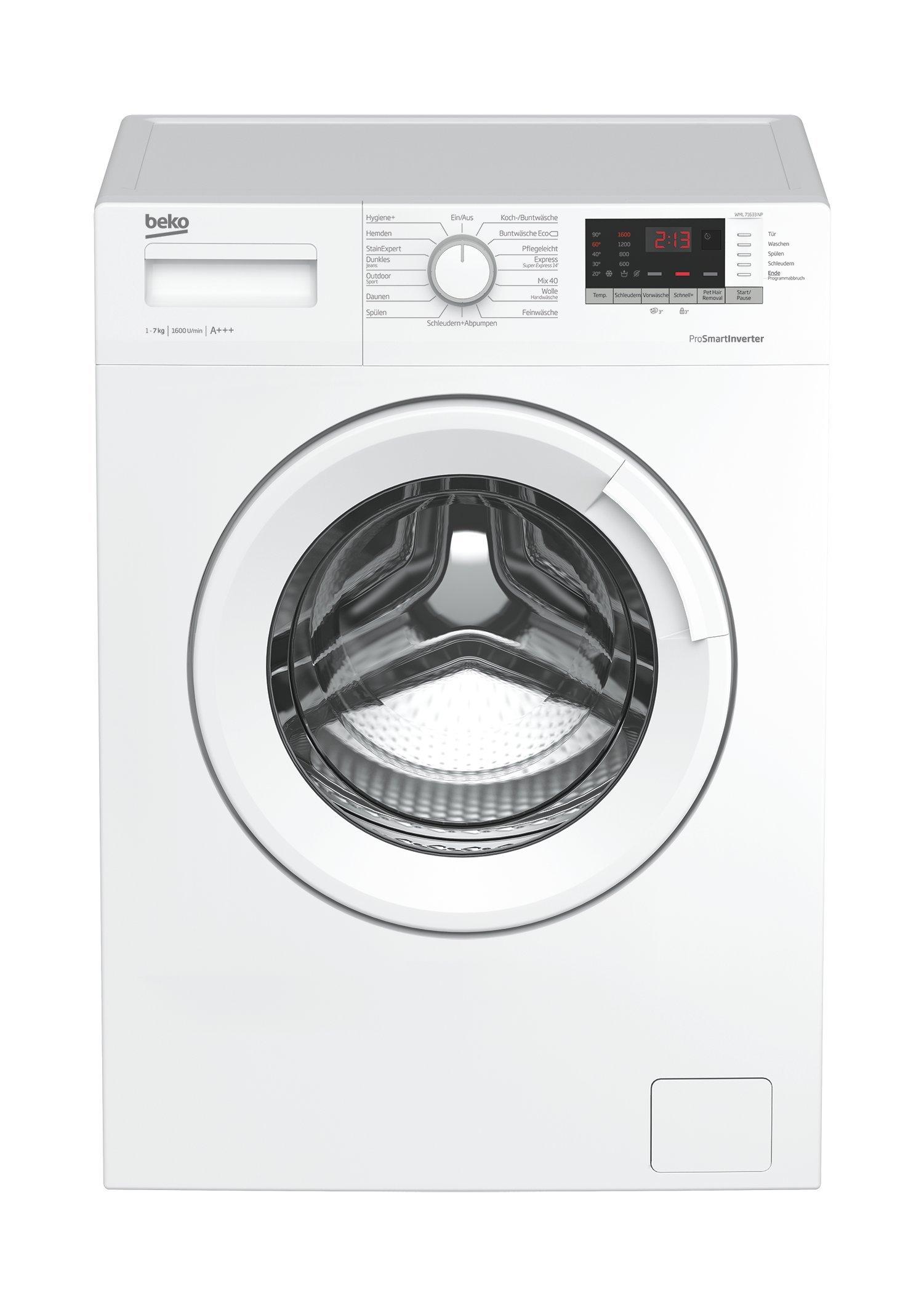 Beko WML 71633 NP Waschmaschine Frontlader, 7 kg Füllmenge, weiß