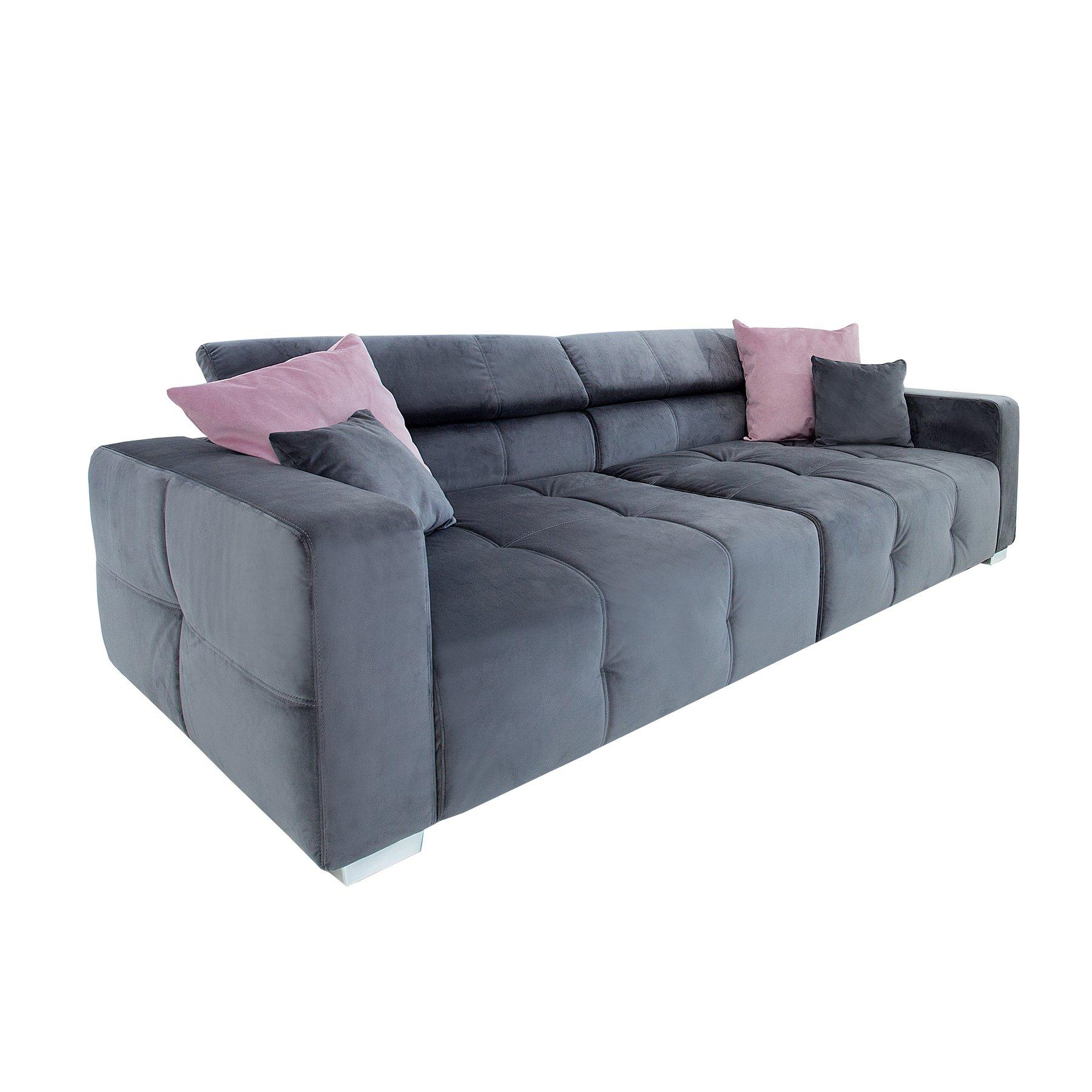 Invicta Interior Elegantes Big Sofa Heritage 290cm Grau Inkl Kissen Verstellbare Kopfstütze Couch Wohnzimmer Samtmöbel