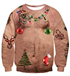 Uideazone Unisex Funny Ugly Christmas Sweater 3D Printed Crew Neck Pullover Sweatshirts for Xmas Party
