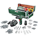 Bosch Akku Schlagbohrschrauber PSB 10,8 LI-2 Toolbox Set (2 Akku, 508 Zubehörteile, 10,8 V, im Koffer)