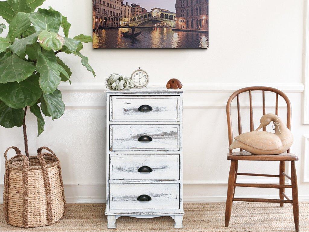 Legno Bianco Vintage : Mobili rebecca comodino cassettiera cassetti legno bianco shabby