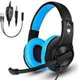 Samoleus Cuffie Gaming con Microfono, Cuffia Stereo con Cavo, Cuffie da Gaming per Xbox One, PS4, Nintendo Switch, Mobile Phone, PC (Blue - Xbox One)