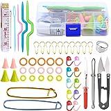 YMWALK 56Pcs Accesorios para Tejer y Ganchillo Juego de Herramientas básicas para Tejer Agujas Porta Puntadas Marcadores Kit