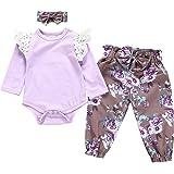 Jurebecia Conjuntos Bebe Niña Recien Nacido Bebé con Capucha Floral Sudadera Tops Pantalones Ropa Trajes Ropa con Volantes be