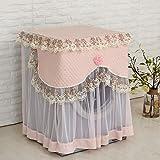 Waschmaschinenbezug Frotteebezug Trockner Abdeckung,Spitzenborte, Größe 60x60x85 cm (Hell-Pink)
