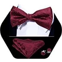 Barry.Wang Mens Pre-tied Bow Tie Set Paisley Silk Tie Pocket Square Cufflinks for Wedding Party Formal