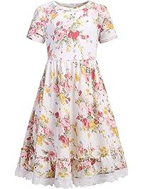 b54fe49486d Bricnat Mädchen Kleid O-Ausschnitt Kurze Ärmel Frühling Sommer Blumen Kleid  A Linie Retro Maedchen