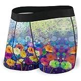 Watercolor Flowers Spring Flower Men's Underwear Boxer Briefs Breathable Underpants S-XXL