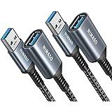NIMASO USB-verlengkabel(1M+2M), USB 3.0, verlengkabel, A stekker naar A-bus voor kaartlezer, toetsenbord, printer, scanner, c