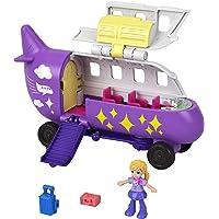 Polly Pocket Pollyville Avion violet avec une mini-figurine Polly, jouet pour enfant, GKL50