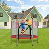 Shopster 55 inch Kids Silent Trampoline with Safety Enclosure Net & Spring Pad, Indoor & Outdoor 60 kgs Powerful Loading Capa