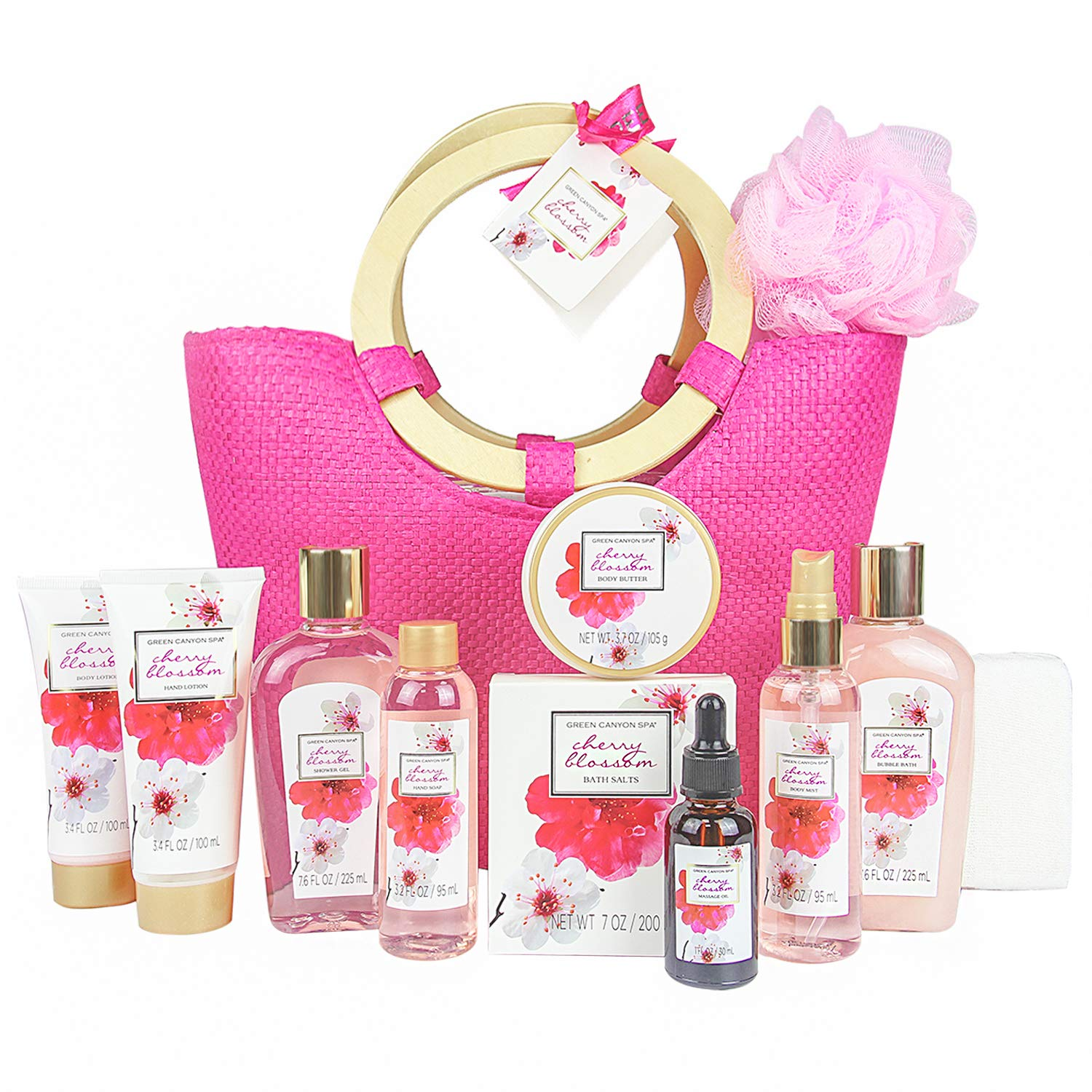 Green Canyon Spa Bath Gift Set for Her in Pink Tote Bag Upgraded 12 Pcs Spa Gift Sets Cherry Blossom Collective Birthday Gift for Women